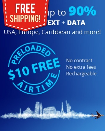 $10 for a Global SIM Card including Free Shipping and $10 Free Airtime Credit