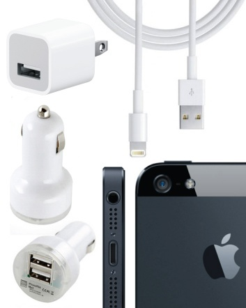 $10 for a Dual USB Car Charger, USB Charger, and 8 Pin to USB Cable Pack - Perfect for iPhone 5...