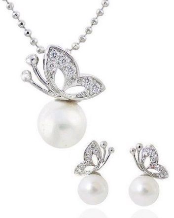 $9 for a Butterfly Pearl Necklace and Earrings Set with Swarovski Elements OR $16 for 2
