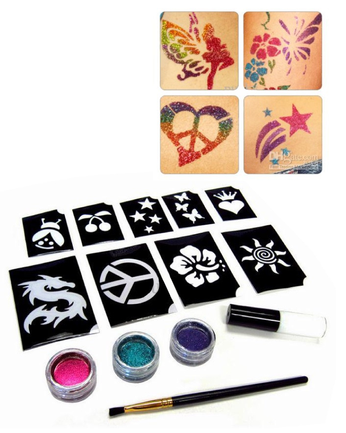 $9 for a 120 Piece Shimmer Glitter Tattoo Set