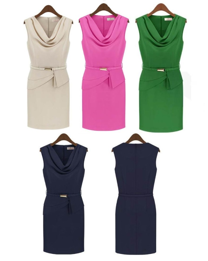 $35 for a Drape Collar Cropped Sleeveless Dress, Choose from 4 Colours