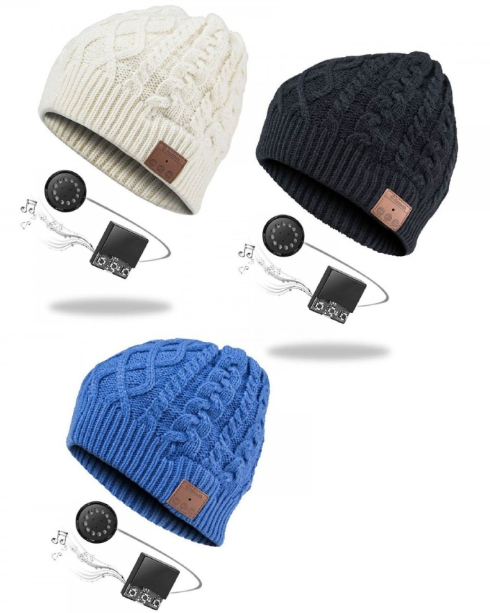$39 for a Cable Knit Beanie Hat with Bluetooth Speakers and Mic, Choose from 3 Colours