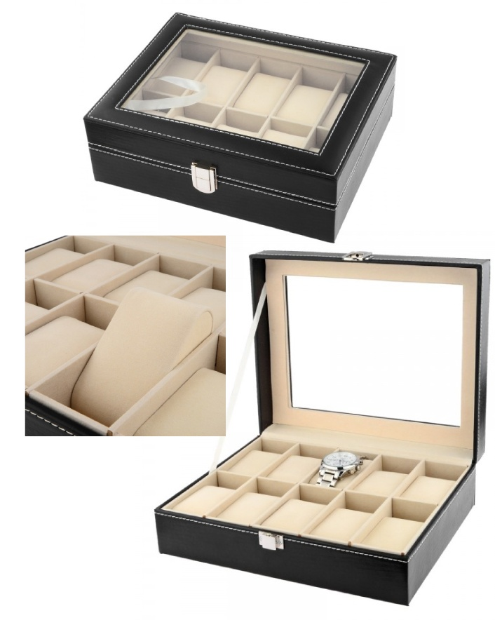$59 for a 10-Slot Watch Box Black Leather Jewelry Display Case