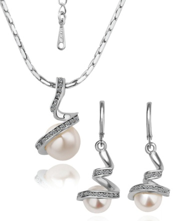 $9 for a 14K White Gold Pearl Necklace & Earring Set Made with Swarovski Elements