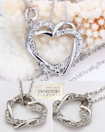 $12 for an 18K White Gold Plated Hearts Necklace Made with Swarovski Elements