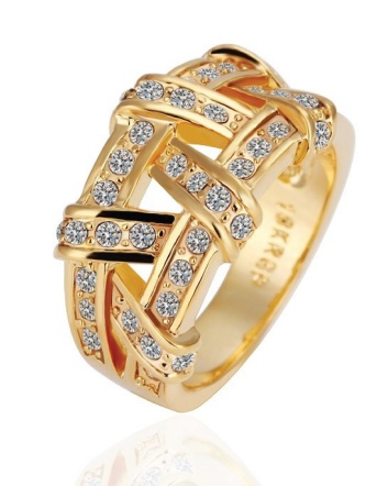 $12 for an 18K Gold Plated Woven Ring Made with Swarovski Elements