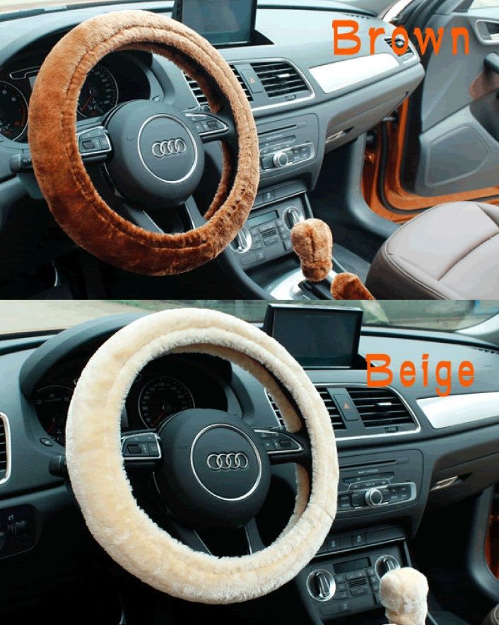 $7 for a 3-Piece Winter Warm Plush Steering Wheel, Gear & Handbrake Cover Set OR $11 for 2,...