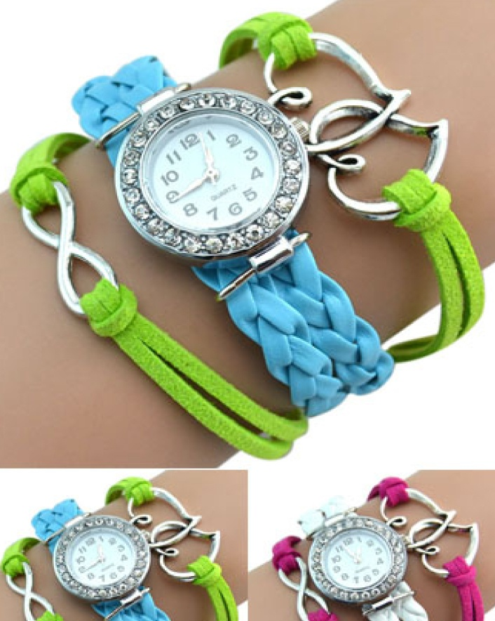 $7 for a Vegan Friendly Leather Wrap Heart Watch OR $11 for 2, Choose from 5 Colours