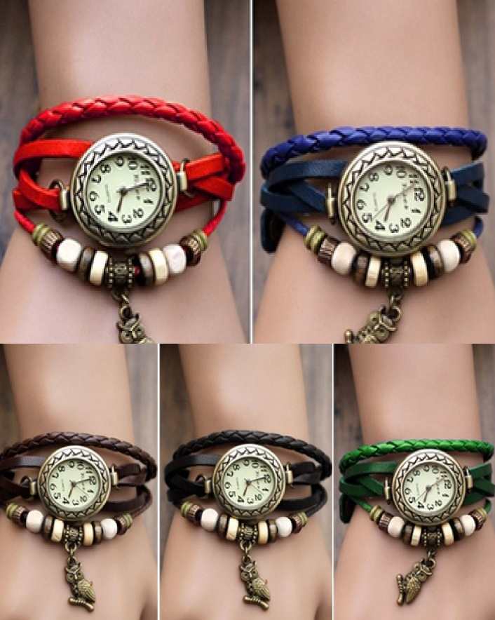 $7 for a Boho Chic Vegan Friendly Leather Wrap Owl Charm Watch OR $11 For 2, Choose From 6 Colours