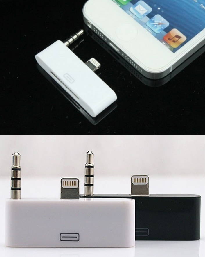 $7 for an 8-Pin to 30-Pin Lightning Dock with 3.5mm Audio Adapter for iPhone 5 OR $11 for 2,...