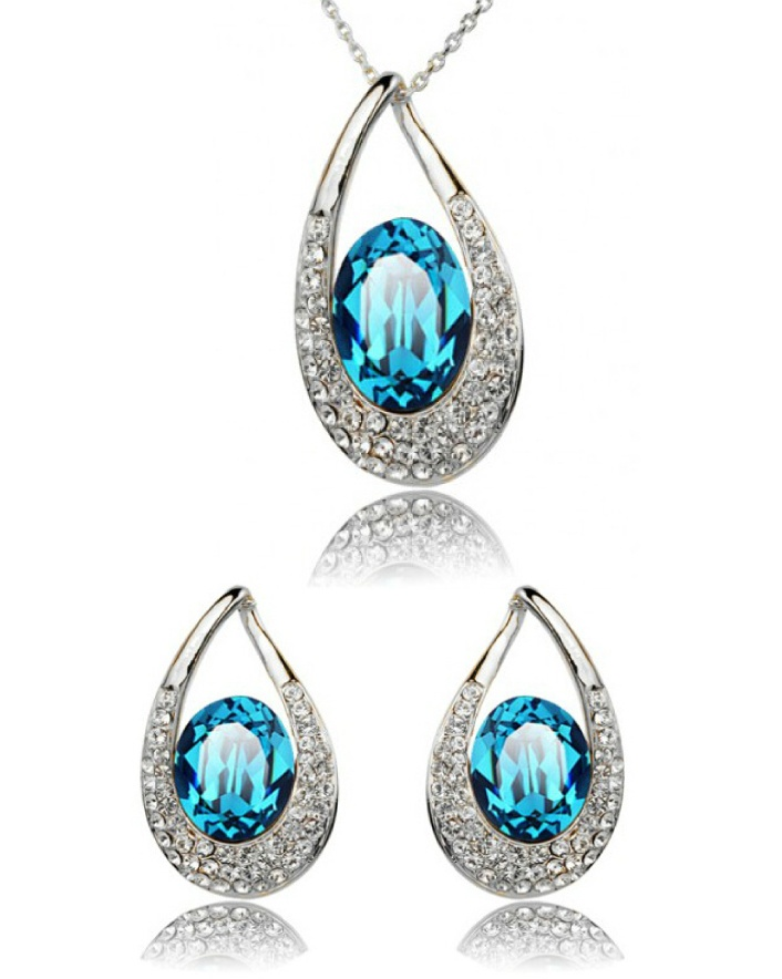 $7 for an Aqua Crystal Swarovski Element Necklace & Earrings Set OR $11 for 2