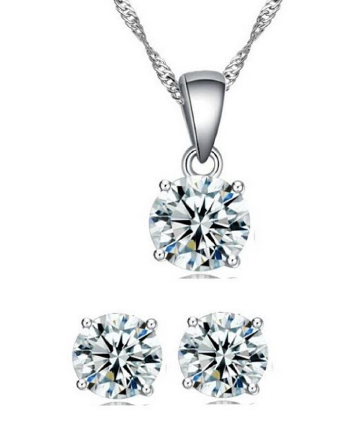 $7 for a Tri Cut 18k Silver-Plated Necklace And Earring Set - Made with Swarovski Elements OR $11...