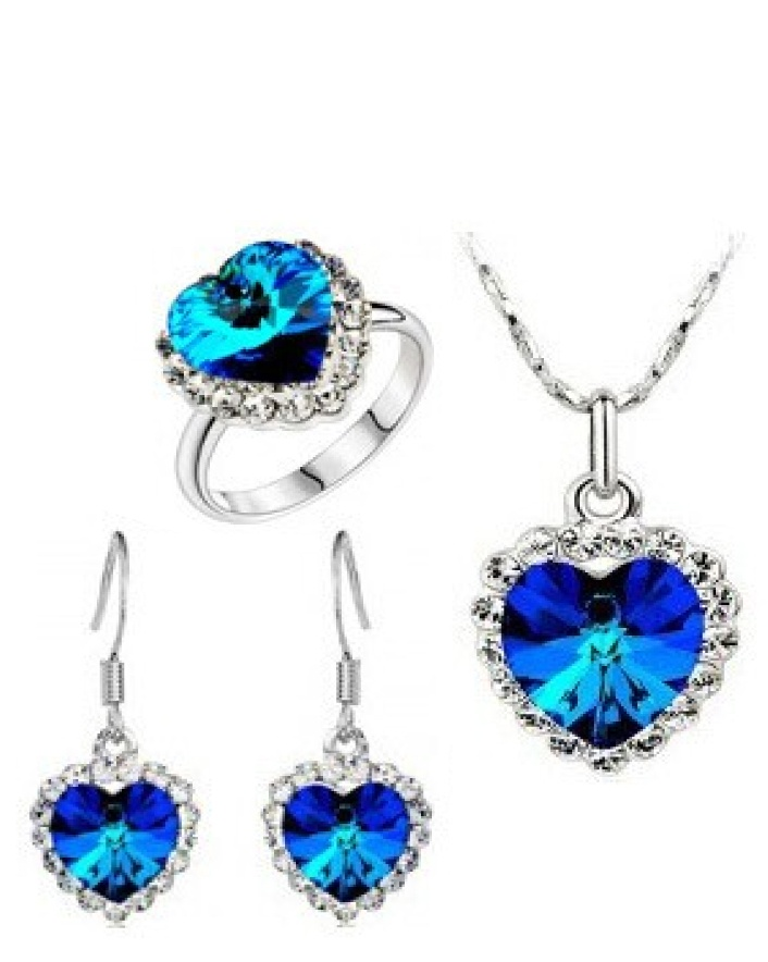 $7 for a Ruby Blue Heart Pendant, Ring & Earring Set OR $11 For 2