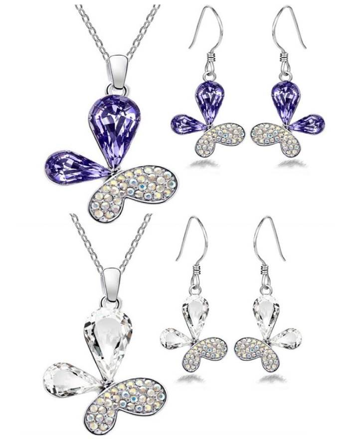 $7 for an Elegant Silver-Plated Flower Necklace & Earring Set OR $11 for 2, Choose from 2 Colours