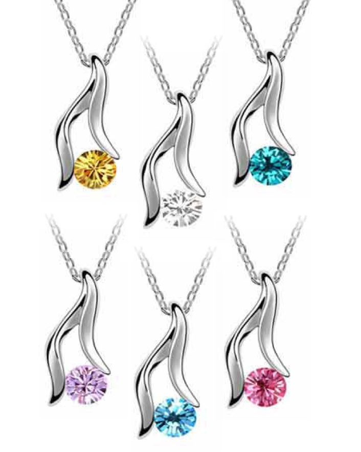 $7 for a Pure Tri Cut Swarovski Element Drop Down Necklace OR $11 for 2, Choose from 6 Colours