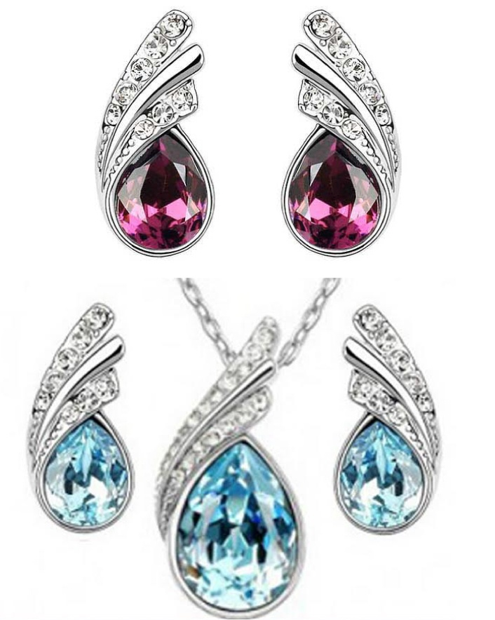 $7 for a Beautiful Crystal Bermuda Pendant & Earrings Set - Made with Swarovski Elements OR $11...