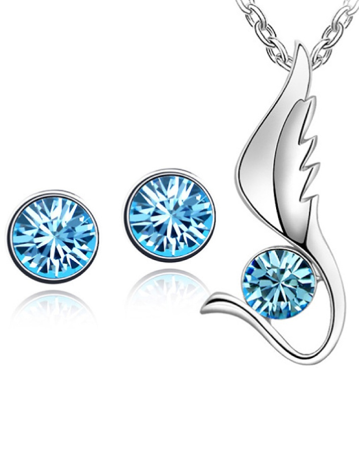 $7 for a Aqua Blue Shark Fin Pendant with Silver-Plated Matching Pair of Stud Earrings OR $11 for 2