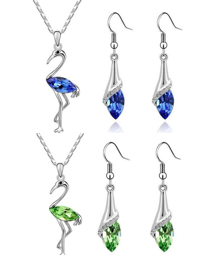 $7 for a Silver-Plated Swarovski Designed Flamingo Set or $11 for 2, Choose from 5 Colours