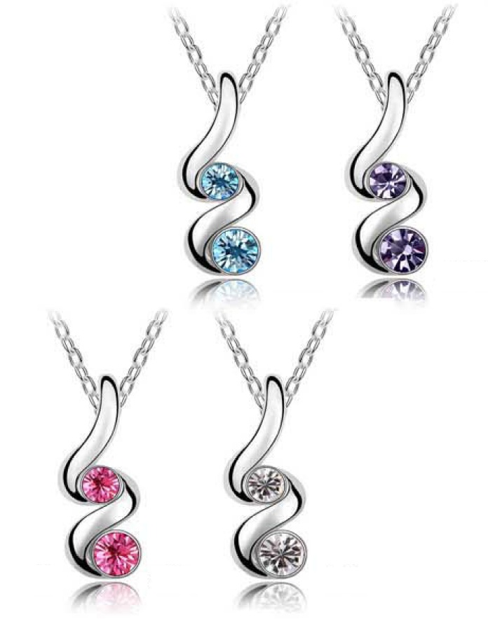 $7 for a Double Stone Silver-Plated Necklace with Pendant Set, Choose from 4 Colours