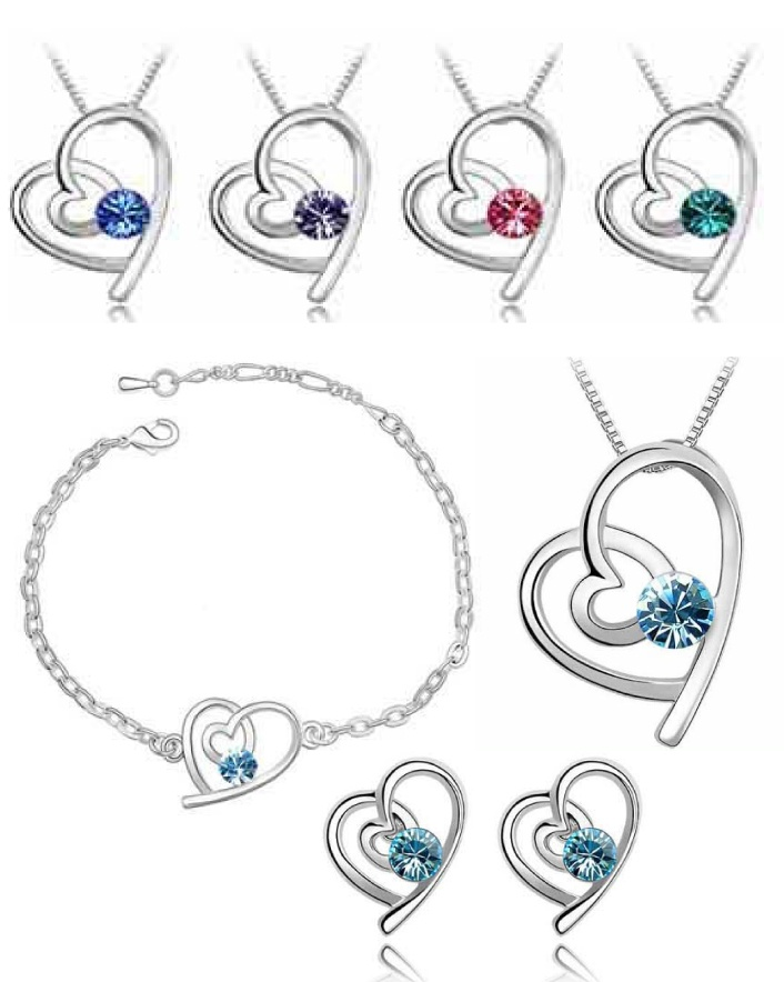 $7 for a Heart in Heart Birthstone Earring & Pendant Set OR $11 for 2 - Choose Your Birthstone!