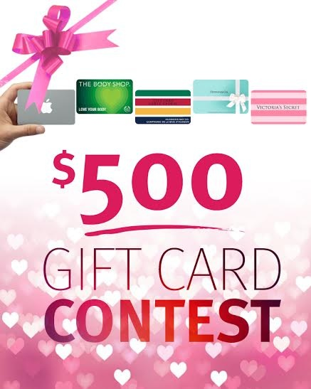 Enter our $500 Valentine Gift Card Giveaway! Take your pick from Tiffany & Co, Hudson Bay, Apple...