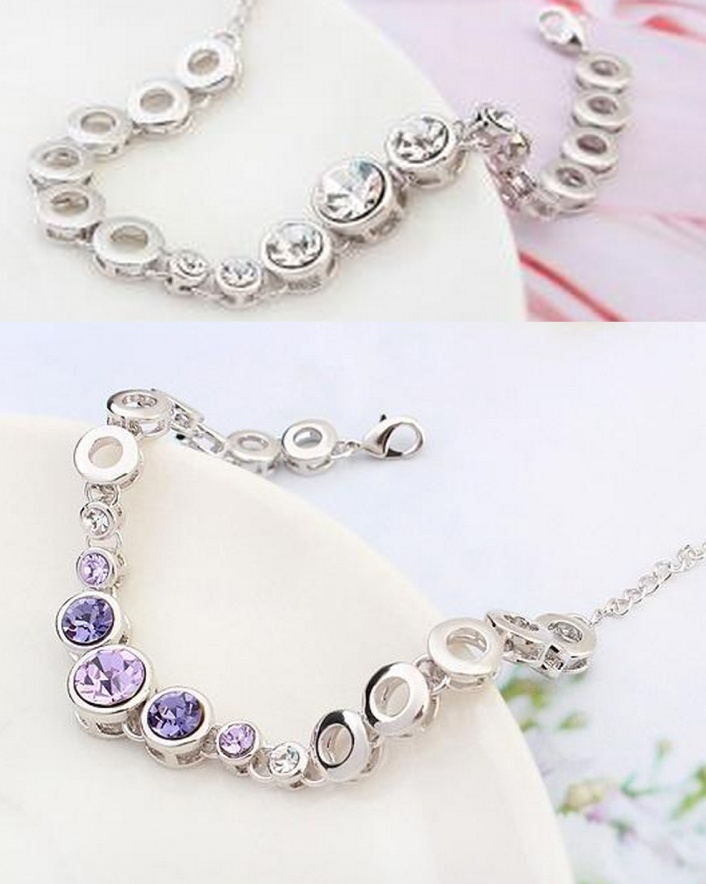 $17 for an 18K White-Gold Plated Crystal Swarovski Bracelet, Choose from 3 Colours