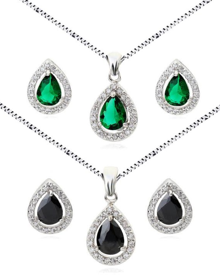 $17 for a 18K White Gold-Plated Tear Drop Earring and Necklace Set