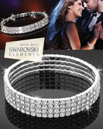 $8 for an 18K White Gold Plated Single Row Swarovski Elements Stretch Bracelet OR $12 for 2 Row...