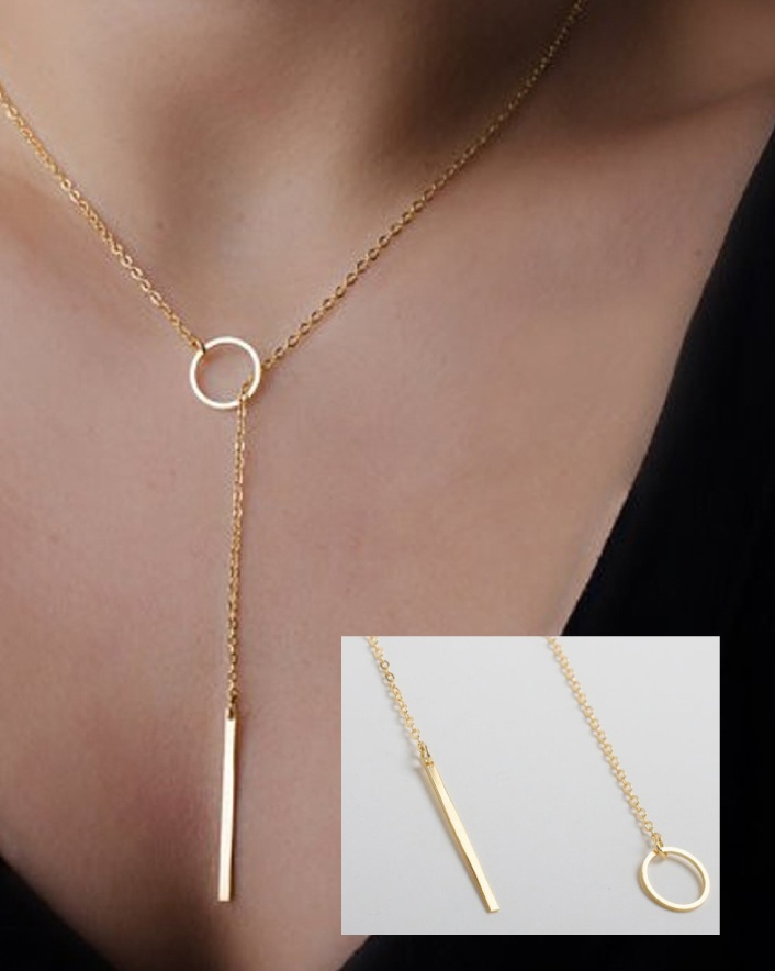 $10 for an Exquisite Simple Golden Bar Lariat Necklace
